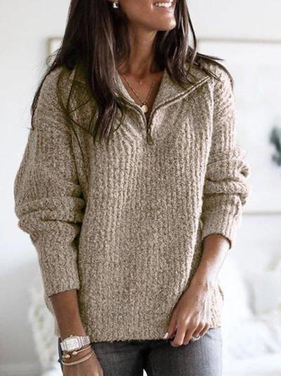 Fashion Knit Rib Henry Collar Top