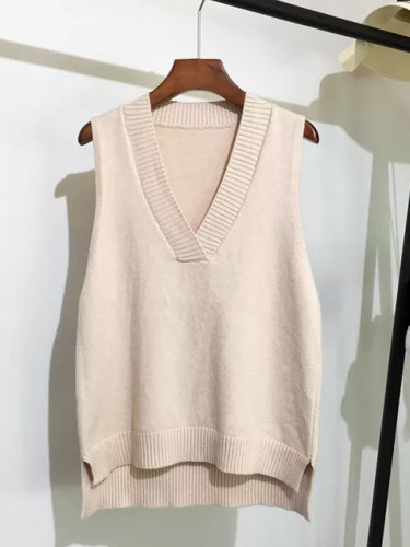 V-neck knitted vest women's sweater loose wild sweater vest