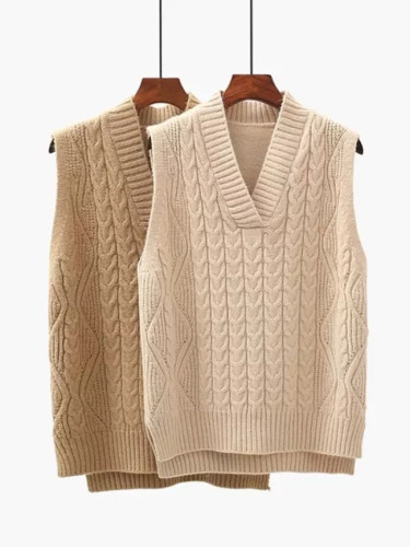 Twist pullover sweater vest women autumn new V-neck wool knitted vest women