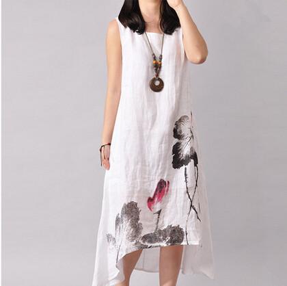 Women Plus Size Fashion O-Neck Sleeveless Summer Linen Cotton Dresses