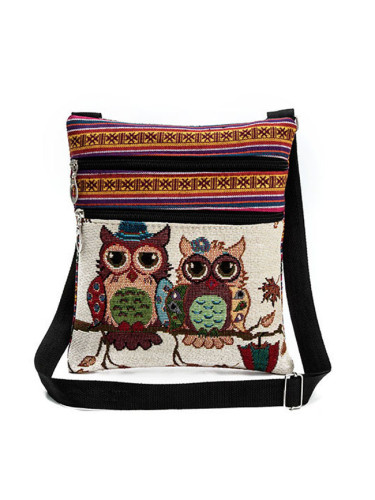 Ethnic style double zipper owl jacquard one-shoulder diagonal messenger bag