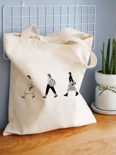 Canvas Tote Bag Cotton Cloth Shoulder Shopper Bags for Eco Foldable Reusable