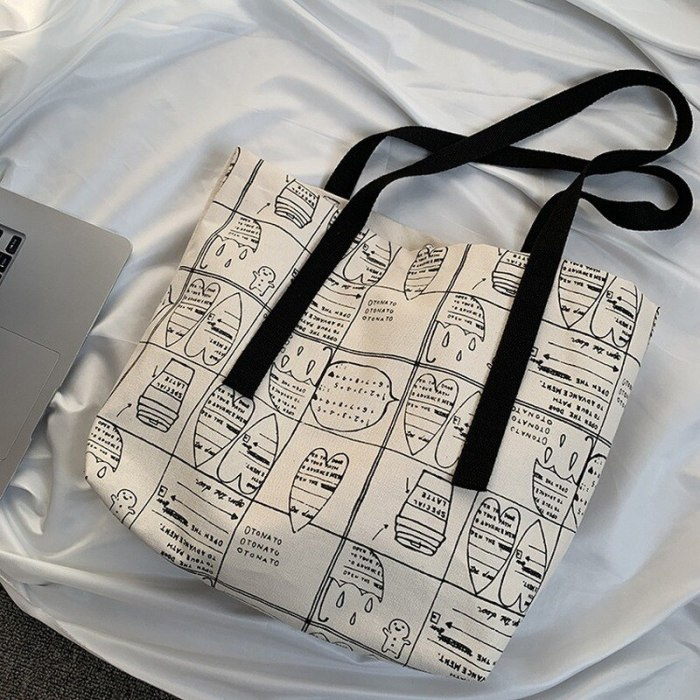 Fashion Printing Canvas Shoulder Bags Foldable Eco Shopping Bag Cotton Cloth Tote Bag