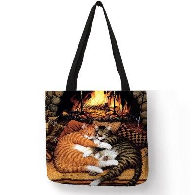 Oil Painting Cat Print Tote Bags Linen Reusable Shopping Bag Shoulder Bags