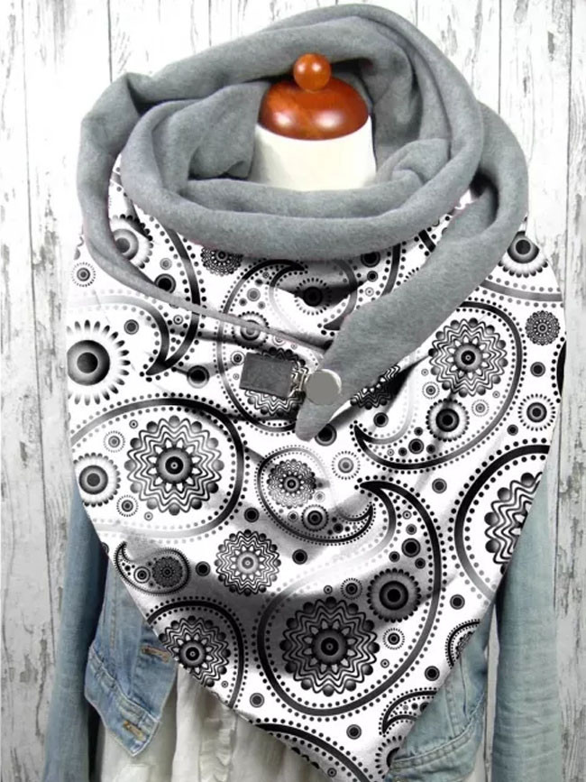 Fashion Winter Women Printing Button Soft Wrap Casual Warm Scarves Shawls Bib