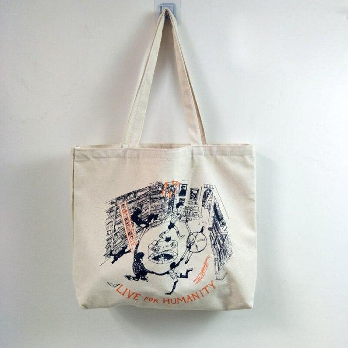 Canvas Shoulder Bag for Women Handbag Cotton Cloth Shopping Bag  Reusable Eco Bags