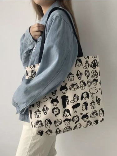 Canvas Shoulder Bags for Women Cartoon Printing Cotton Cloth Eco