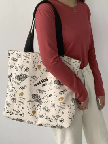 Large Capacity Canvas Tote Bags for Lady Shoulder Bag College Student Book Bag Cotton Cloth