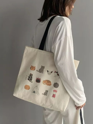 Canvas Totes Bag for Eco Reusable Shopping Bag Cartoon Cat Cotton Cloth Student Bags