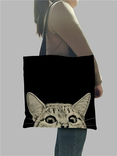 Cute Black Cat Print Tote Bag for Women Shoulder Bags