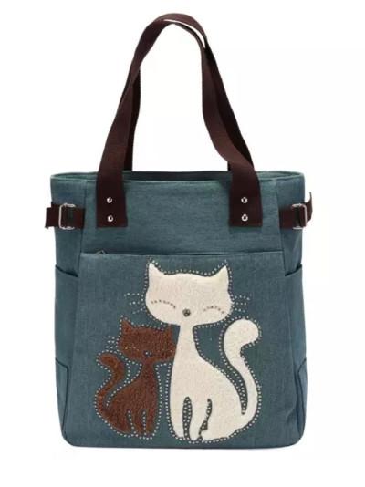Cute Cat Canvas Handbag for Ladies Large Capacity Casual Bag