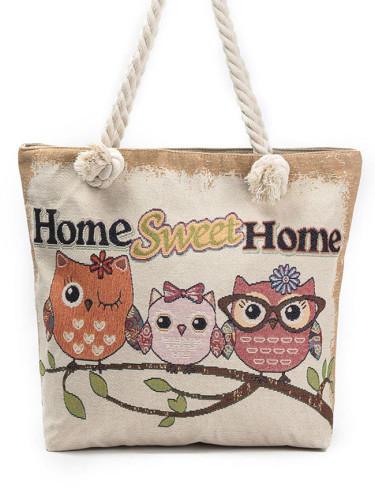 Fashion Lady Tote Bag Prints Hand Bags Linen Practical Casual Shoulder Bag