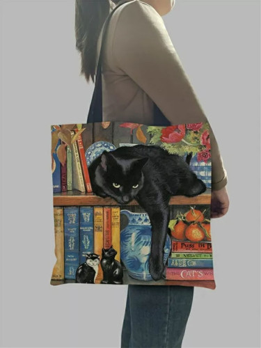 Oil Painting Cat Print Tote Bags Linen Reusable Shopping Bag Shoulder Bags