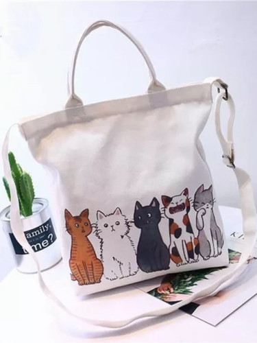Cute Cat Shopping Bag Foldable Women Beach Bags White Canvas Casual Tote Bag