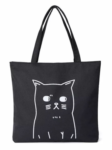 Cute Cats Canva Handbag Totes Black Reusable Shoulder Bags