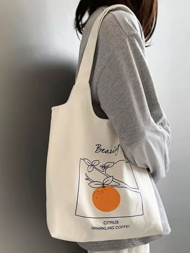 Canvas Shoulder Cotton Shopping Bags for Handbag Reusable