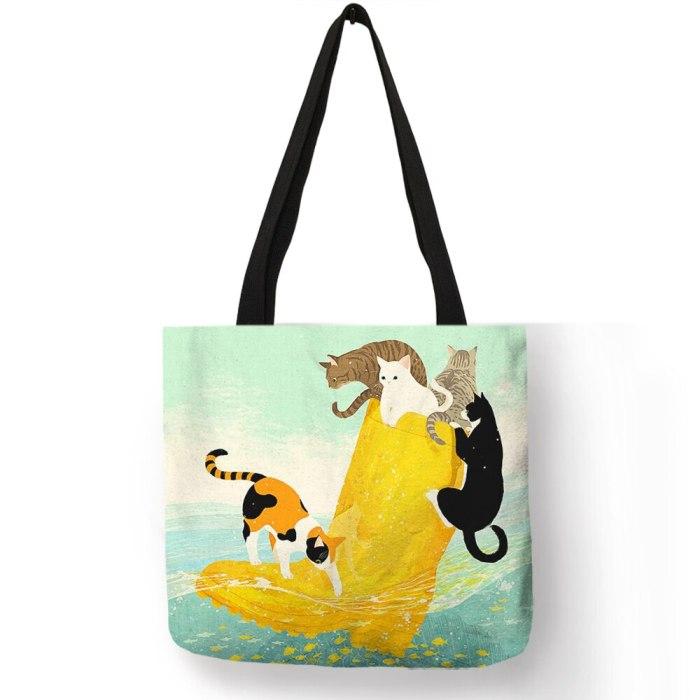 Customized Cartoon Cat Print Tote Bag For Reusable Shopping Bags School Bags