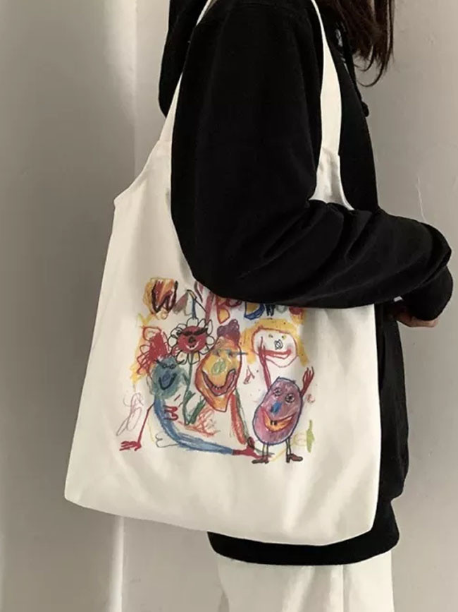 Tote Shopping Bag for Lady Cartoon Canvas Students Cotton Cloth Eco