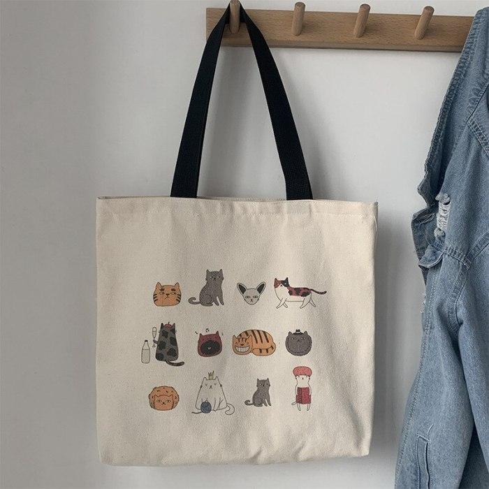Canvas Totes Bag for Eco Reusable Shopping Bag Cartoon Cat Cotton Cloth Student Bags