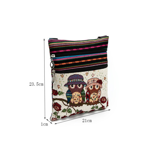 Ethnic style double zipper owl jacquard one-shoulder diagonal messenger bag