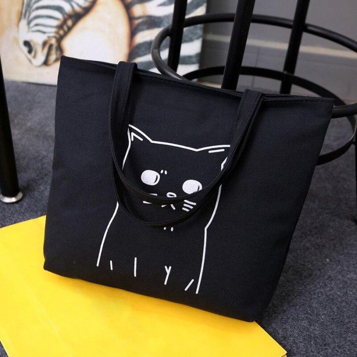 Cute Cats Canva Handbag Totes Black Reusable Shoulder Bags