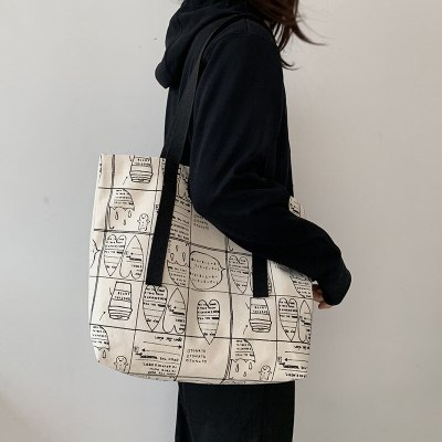 Fashion Printing Canvas Shoulder Bags Foldable Eco Shopping Bag Cotton Cloth Tote Bag