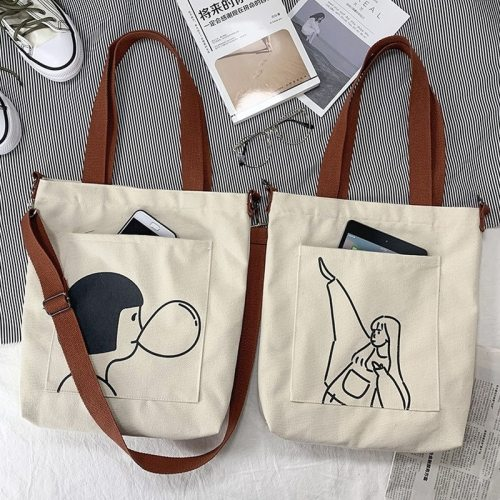 Casual Shoulder Bag Female Cross Body Bags Cotton Cloth Tote Bags