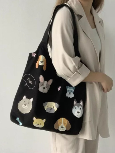 Canvas Tote Shoulder Bags Cartoon Dog Cotton Cloth Eco Shopping Bag
