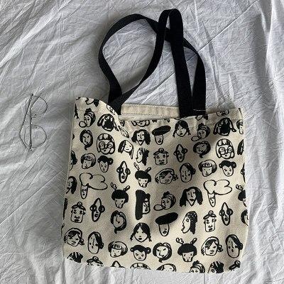 Canvas Shoulder Bags for Women Cartoon Printing Cotton Cloth Eco