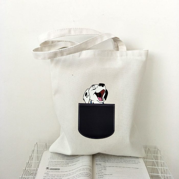Canvas Tote Bag for Cotton Cute Cartoon Cat Eco Reusable Shopping Bag
