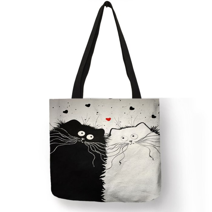 Simple Style Women Handbag Cartoon Cute Black Cat Prints Shoulder Bag Eco