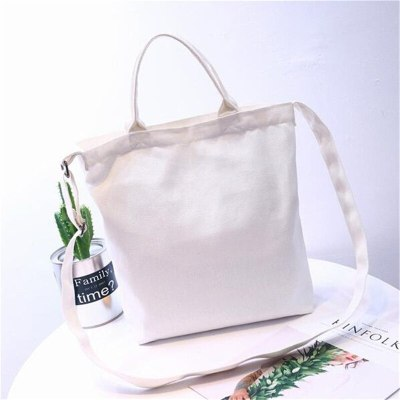Cute Cat Shopping Bag Foldable Women Beach Bags White Canvas Casual Tote Bag
