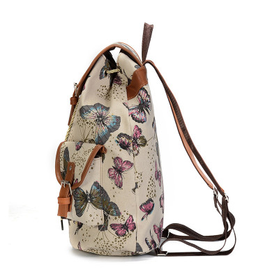 Canvas shoulders retro butterfly canvas outdoor backpack