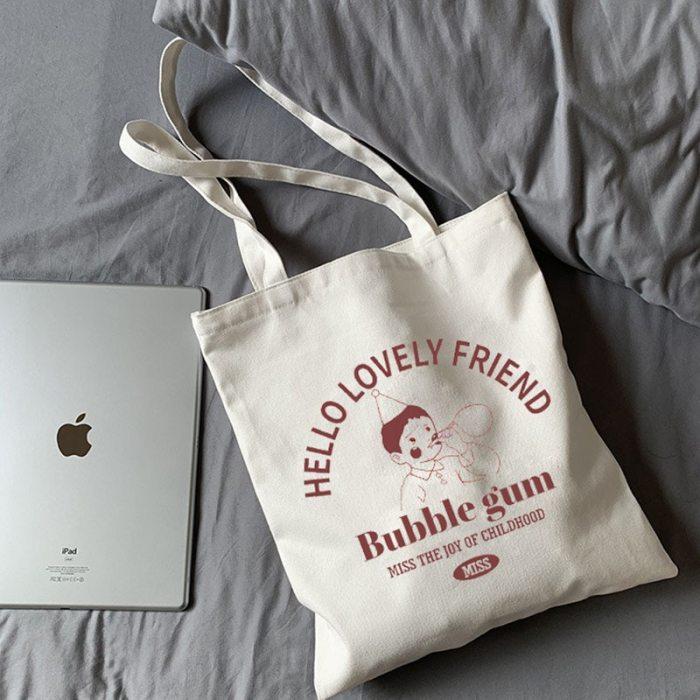 Canvas Shoulder Cotton Shopping Bags for Handbag Reusable