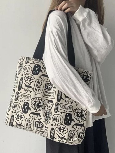 Large Tote Bag Canvas Shopper Bag Cartoon Cotton Cloth Handbags Eco Reusable