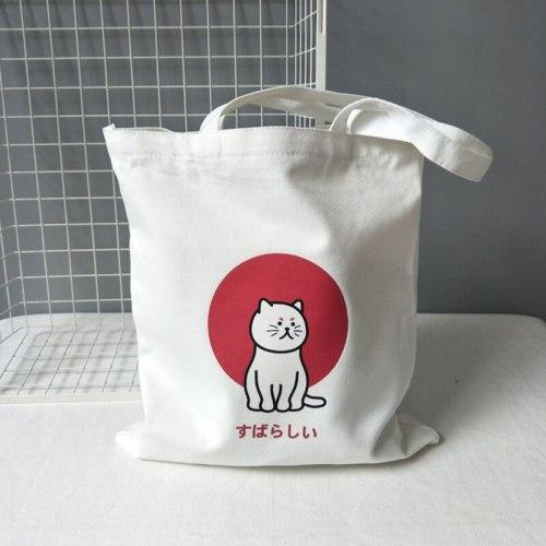 Canvas Tote Shoulder Bags Cat Print Handbags Eco Friendly
