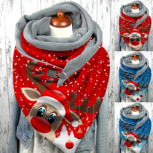 Christmas Deer Print Button Scarves Soft Wrap Warm Shawls Winter Windproof