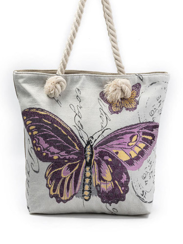 Thick rope purple butterfly jacquard canvas big bag canvas shoulder handbag