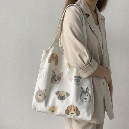 Canvas Tote Shoulder Bags Cartoon Dog Cotton Cloth Eco Shopping Bag