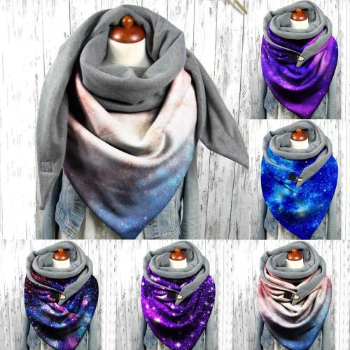 Starry Sky Printing Button Soft Wrap Casual Warm Scarves Shawls