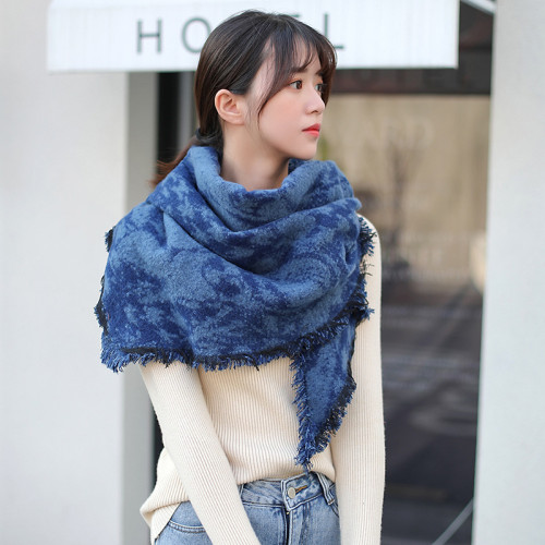 Blue Cotton-Blend Casual Scarves & Shawls