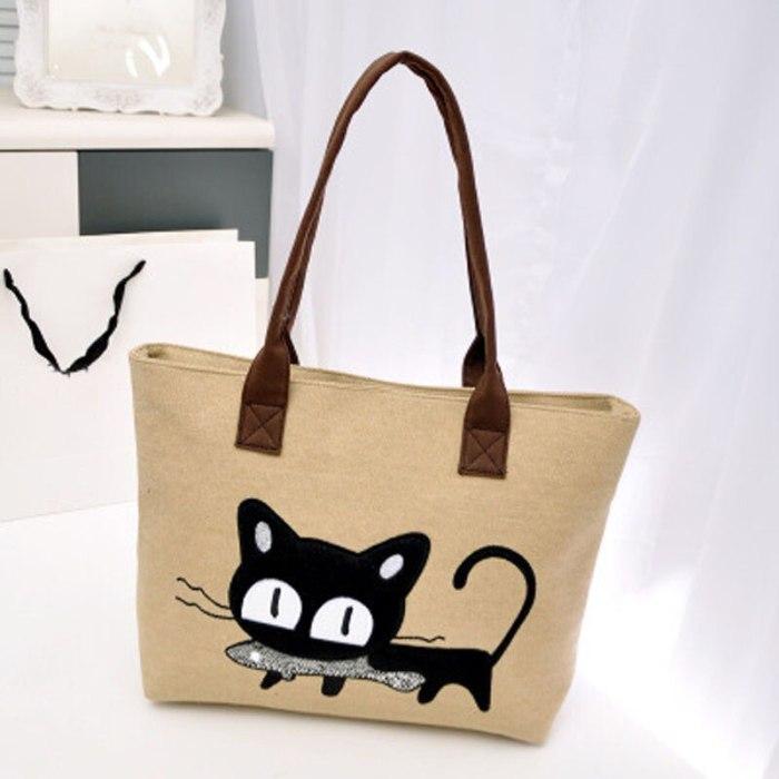 Cute Cartoon Cat fish Print Canvas Shoulder Bag Zipper Casual Tote