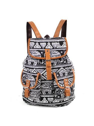 Ethnic print fashion backpack leisure bag retro large-capacity student