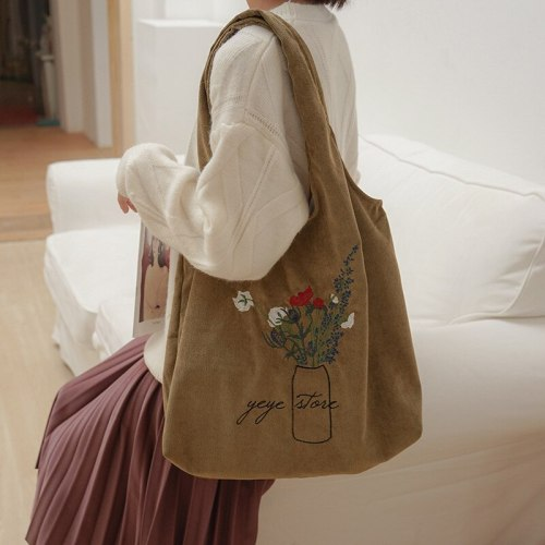 Corduroy Shoulder Bag Embroidery Eco Cotton Cloth Foldable Tote Large Capacity