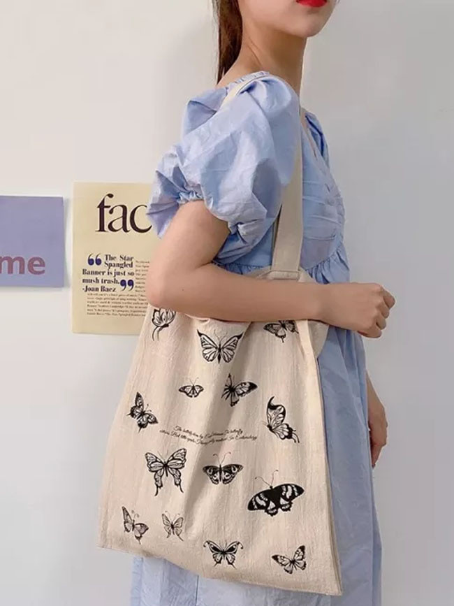 Cotton Linen Women Canvas Eco Friendly Shoulder  Vintage Butterfly Print