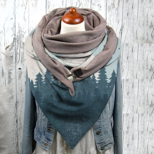 Color wood print button scarf shawl winter windproof