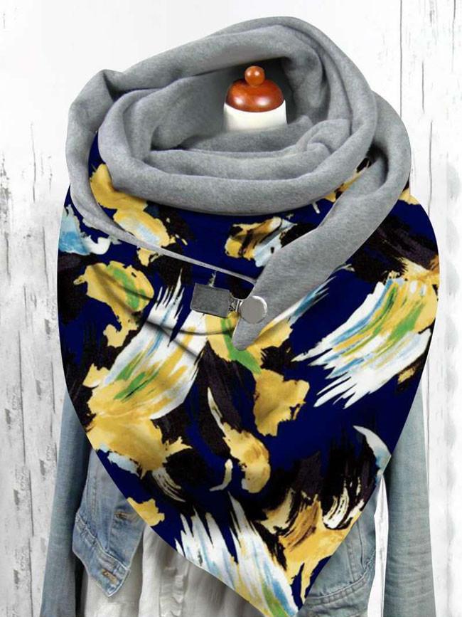 Winter button soft wrap headscarf flower print scarf shawl