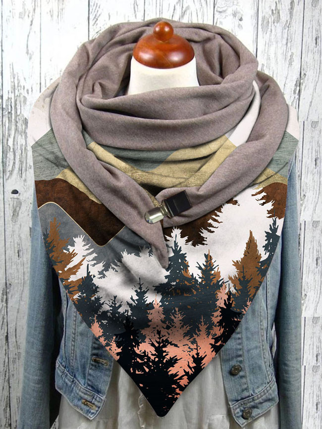 Landscape print button scarf soft wrap warmth shawl winter windproof