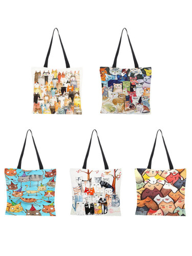 Cute Cartoon Cats Image Printed Handbag Eco Linen Shoulder Bag
