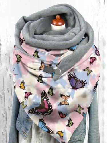 Winter Button Soft Wrap hijab velvet butterfly pattern Scarves Shawls